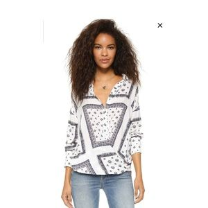 Free People White Printed Buttondown Top